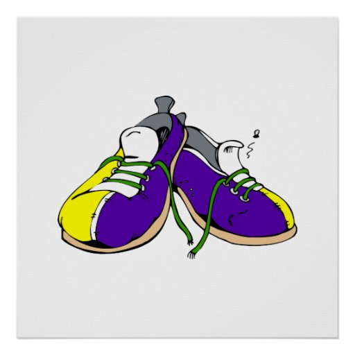 Zapatos de bolos coloridos póster