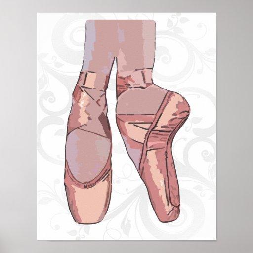 Zapatos de dedo del pie de los deslizadores del ba posters