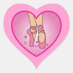 Zapatos de la bailarina: Corazón en el pegatina
