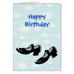 Zapatos de la danza de Mary Janes del feliz cumple Tarjeton