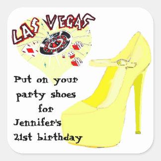 Zapatos de la fiesta de cumpleaños de Las Vegas Pegatina Cuadrada