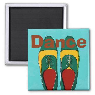 Zapatos de los hombres, danza, texto del cambio imán cuadrado