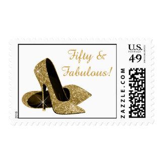 Zapatos de los tacones altos del oro sellos postales
