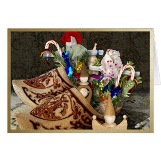 Zapatos de madera para Het Sint Nicolaasfeest - Tarjeta Pequeña