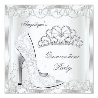 """Zapatos de plata blancos mágicos del tacón alto de invitación 5.25"""" x 5.25"""""""