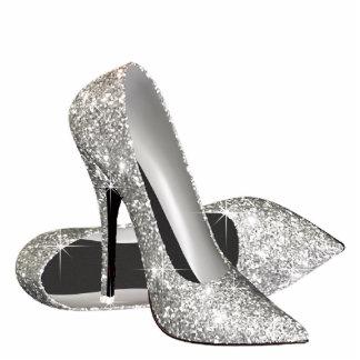 Zapatos de plata del tacón alto del brillo fotoescultura vertical