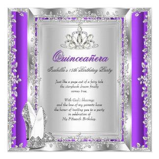 "Zapatos de plata púrpuras del décimo quinto invitación 5.25"" x 5.25"""