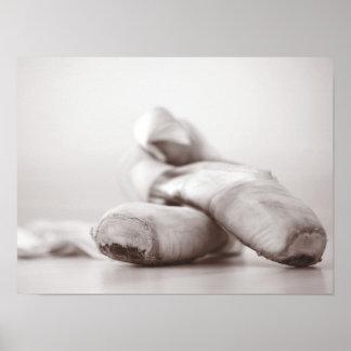 Zapatos de Pointe del ballet en la plantilla de Da Poster