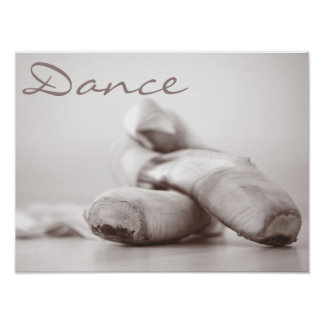 Zapatos de Pointe del ballet en la plantilla de Da Póster