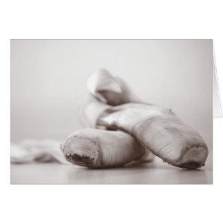 Zapatos de Pointe del ballet en la plantilla de Tarjeta Pequeña