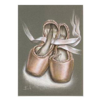 """Zapatos de Pointe Invitación 5"""" X 7"""""""
