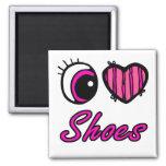 Zapatos del amor del corazón I del ojo de Emo Iman Para Frigorífico