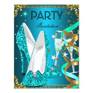 Zapatos del azul del oro de la fiesta de invitación 10,8 x 13,9 cm