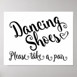 Zapatos del baile que casan la impresión póster