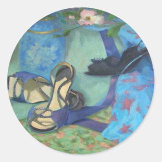 Zapatos del baile y flores del Dogwood Pegatina Redonda