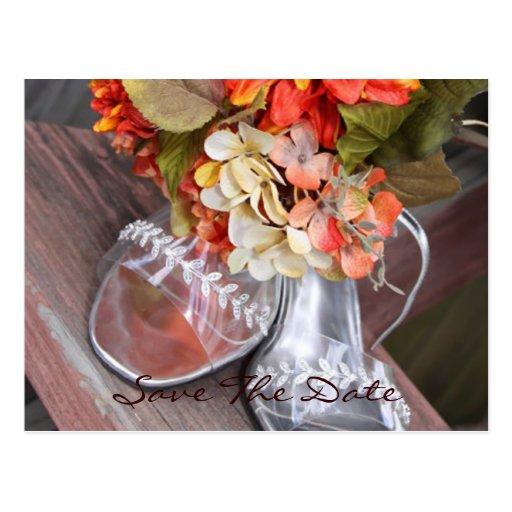 Zapatos del boda y centro de flores del boda tarjetas postales