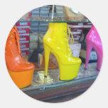Zapatos del bulevar de Hollywood Pegatinas Redondas