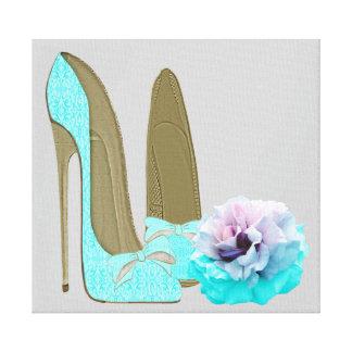 Zapatos del estilete de la turquesa e impresión co impresión de lienzo