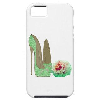 Zapatos del estilete del cordón de la verde lima y iPhone 5 fundas