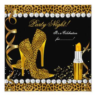 Zapatos del leopardo del negro del oro del brillo anuncio personalizado