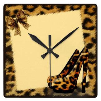 Zapatos del modelo del leopardo personalizados reloj cuadrado