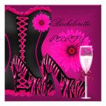 Zapatos del rosa del negro de la cebra del corsé d invitacion personalizada