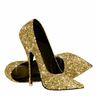 Zapatos del tacón alto del brillo del oro fotoescultura vertical