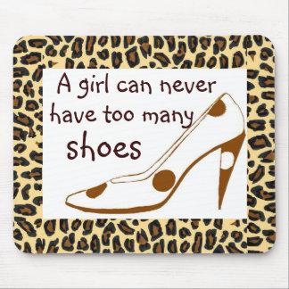 Zapatos del tacón alto del estampado leopardo alfombrillas de ratones