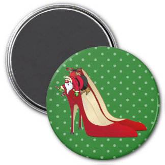 Zapatos del tacón alto/duende/imán rojos de Santa Imán Redondo 7 Cm