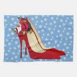 Zapatos del tacón alto/duende rojos de Santa Toallas