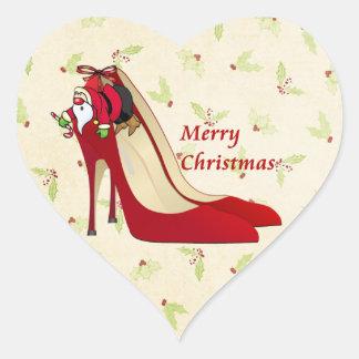 Zapatos del tacón alto/duende rojos de Santa Pegatina En Forma De Corazón