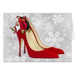 Zapatos del tacón alto/duende rojos de Santa Tarjeton