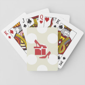 Zapatos del tacón alto, lunares, caja de regalo - cartas de póquer