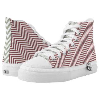 Zapatos del top del alto de los galones del zigzag zapatillas