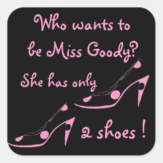 Zapatos descarados de Srta. Goodie dos de la Pegatinas Cuadradas