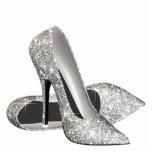 Zapatos elegantes del tacón alto del brillo esculturas fotográficas