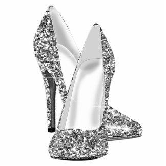 Zapatos elegantes del tacón alto del brillo fotoescultura vertical