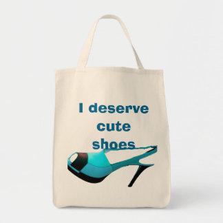 Zapatos lindos porque lo merezco bolsa tela para la compra