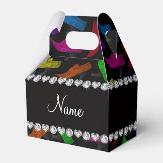 Zapatos negros conocidos personalizados del cajas para detalles de boda