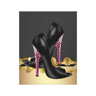 Zapatos negros y rosados del boutique del leopardo impresiones en lienzo estiradas