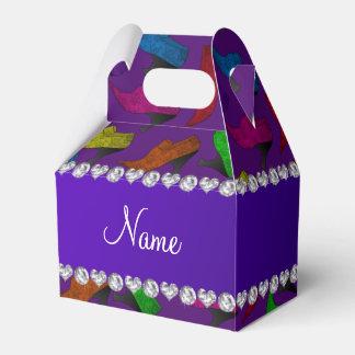Zapatos púrpuras conocidos personalizados del cajas para detalles de boda
