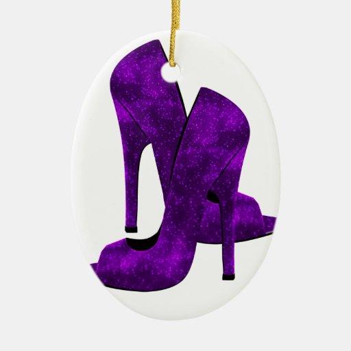 Zapatos púrpuras del tacón alto adorno ovalado de cerámica
