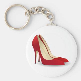 zapatos rojos del tacón alto llavero redondo tipo pin