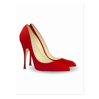 zapatos rojos del tacón alto postal