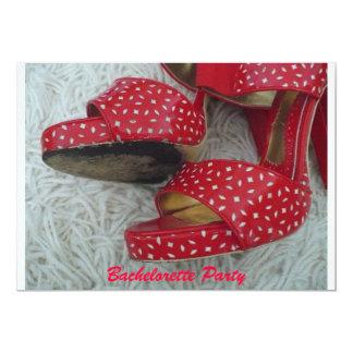 Zapatos rojos invitación 12,7 x 17,8 cm