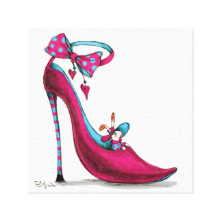 Zapatos rosados con el conejo lona envuelta para galerias