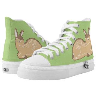 Zapatos verdes claros Blanco-Atados de los ciervos Zapatillas