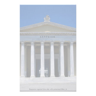 Zappeion against blue sky with polarized filter, A Stationery Design