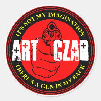 Zar del arte - dispare contra el sello #3 - pegatina redonda