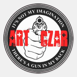 Zar del arte - dispare contra el sello #4 - etiqueta redonda